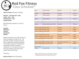 September RFF Class Schedule
